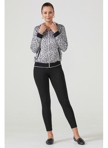Sementa Kadın Kapüşonlu Fermuarlı Desenli Bluz  Siyah